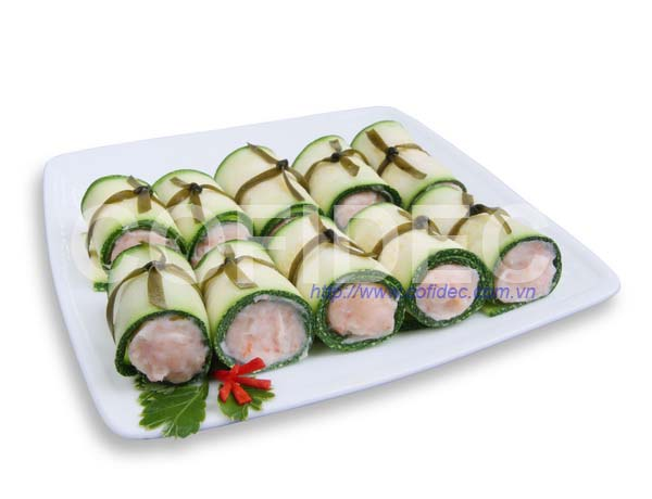 Green Zucchini rolled with Shrimp paste