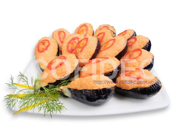 Fried Eggplant Half cut with Shrimp paste