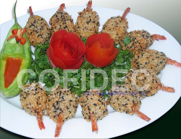Breaded shrimp with black sesame